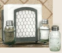 Chicken Wire Salt Pepper and Napkin Caddy by Colonial Tin Works
