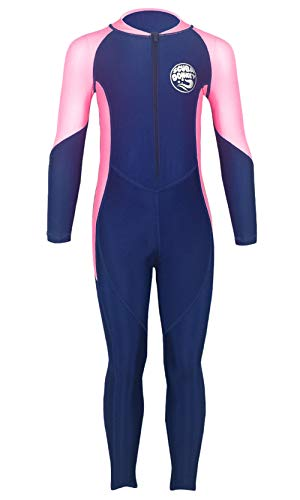 SCUBA DONKEY Girls Lycra Wetsuit Long Sleeve Full Body One Piece Swimsuit Swimming Bodysuit 10-11T Blue/Pink