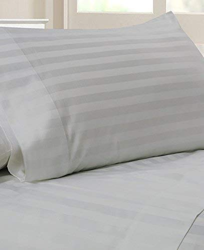 Luxury Italian Finished 600-Thread-Count Egyptian Cotton Bed Sheet Set 21 Inch Extra Deep Pocket Grand King Size, Silver Gray Stripe 600TC 100% Cotton Bedding -