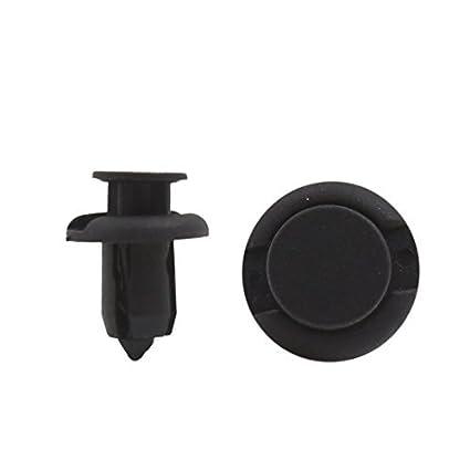 eDealMax 100 piezas Negro de Los remaches plásticos Sujetadores 10 mm diámetro del agujero Para Parachoques