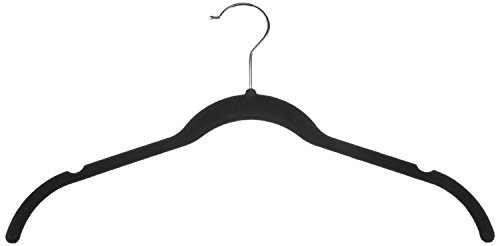 Home-it 50 Pack Shirt and dress Clothes Hangers Black Velvet Hangers High quality Clothes Hanger Ultra Thin No Slip neck (hook) swivel