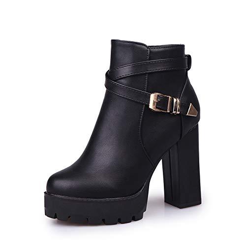 HOESCZS Frauen Schuhe Herbst Und Und Und Winter Martin Stiefel 10 cm Super High Heel Gürtelschnalle Seitlichem Reißverschluss Damen Stiefel 3cc174