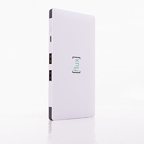 Flux Portable Charger 10,000 mAh, Ultra Slim External Battery Pack with Built in Cords for iPhone Xs, iPhone X, iPhone 8s, iPhone 8, Galaxy s7, Galaxy s7 Edge (Premium Aluminum Power Bank)