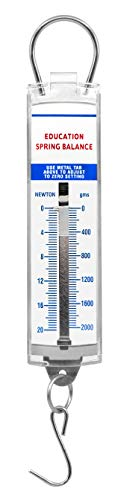 Balance Spring Scale - Premium Spring Balance, 0-2000g / 0-20N - High Resolution, Dual Transparent Scale, Newtons & Grams - Zero Calibration Capability - Acrylic Body, Superior Quality & Finish - Eisco Labs