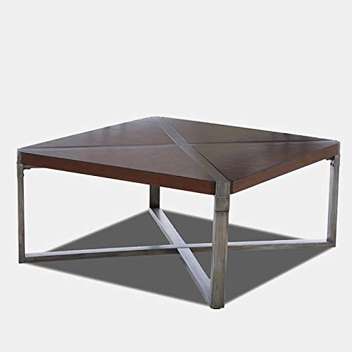 (Wood Top Coffee Table - Coffee Table with Metal Base - Brown)