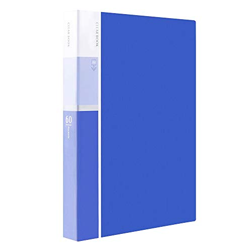 (MyLifeUNIT 60-Pocket Business A4 Sheet Presentation Book, 120-Page Capacity for A4 and Letter Size Inserts (Blue))