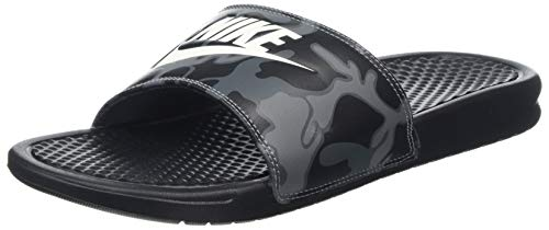 Nike Benassi Just Do It Print Men's Slide (11), Black / Summit - Textured Leather White
