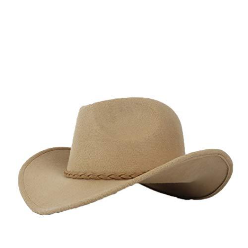 ASO-SLING Faux Felt Wide Brim Western Cowboy Hat Wool Fedora Outback Hat with Brown Belt
