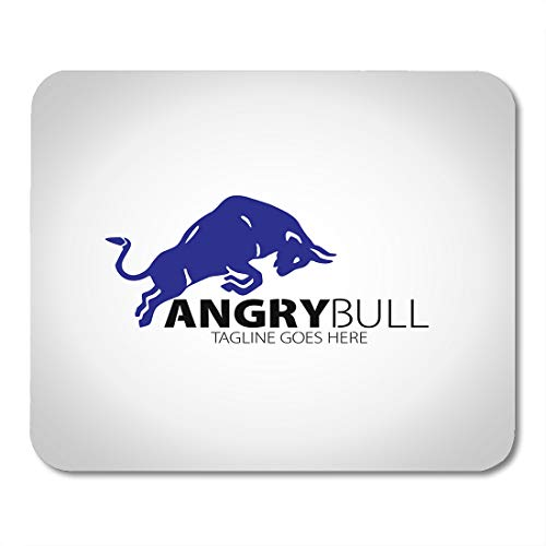 Emvency Mouse Pads Spanish White Head Angry Bull Silhouette Taurus Mouse Pad 9.5