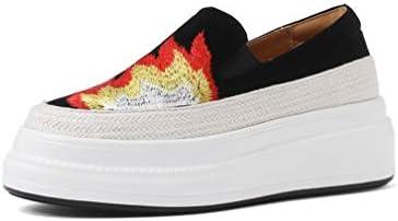 YAN Zapatos de Las Mujeres bajo-Top Casual Zapatos señoras Mocasines Moda Plataforma Zapatos Gamuza Bordados Zapatos Amarillo Negro/Llama,Black,42