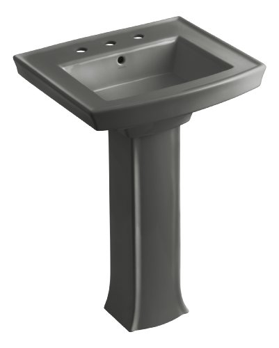 58 Thunder Grey Pedestal - KOHLER K-2359-8-58 Archer Pedestal Bathroom Sink with 8