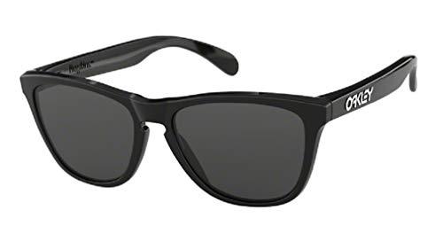 Oakley Frogskins OO9013 24-306 55M Polished Black/Grey Sunglasses For Men For Women+BUNDLE with Oakley Accessory Leash Kit (Oakleys Frogskin)
