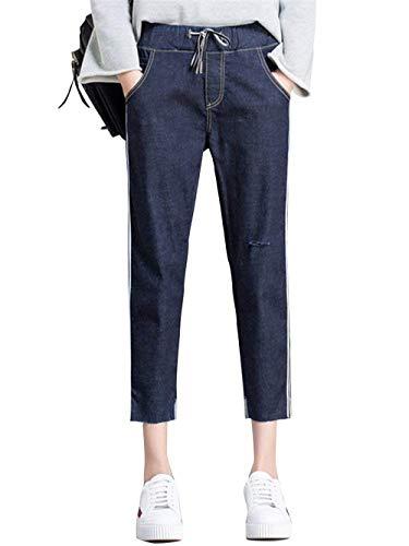 En Sur De Rayé Cordon Le Serrage Poches Blue Midnight Biran Élastique Denim Déchiré Femme Avec Breal Taille Pantalon Devant 35LARjcS4q
