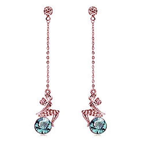 MIXIA Tinkerbell Tinker Bell Fairy Fashionable Dangle Earrings Shiny Long Round Ocean Blue Crystal Drop Earring