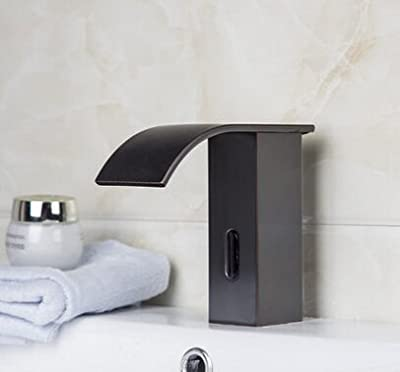 YAJO Modern Waterfall Spout Touch-Free Automatic DC Power Bathroom Vessel Sink Sensor Faucet Only Cold Mixer Faucet, Oil Rubbed Bronze