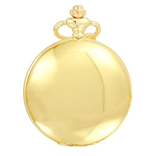 Gold Smooth Vintage Classic Pocket Watch with Chain Gift Box