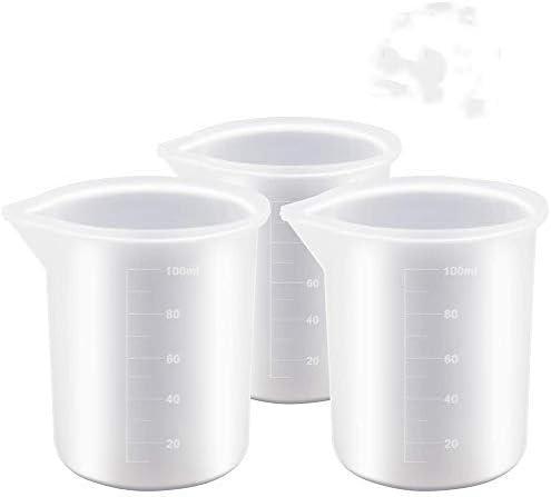 Vaso medidor de silicona para resina epoxi, reutilizable, hecho a mano, antiadherente, 100 ml