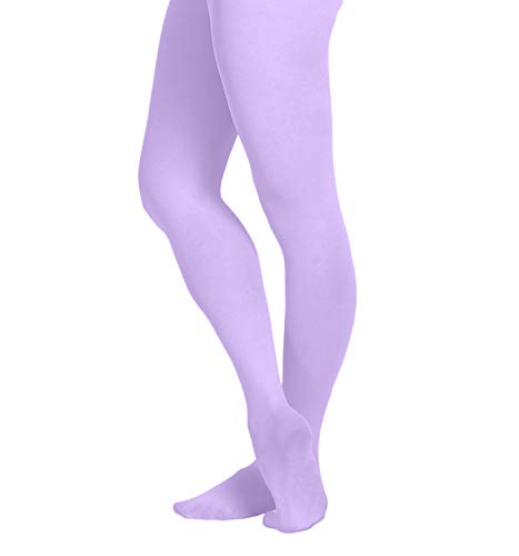 EMEM Apparel Girls' Kids Childerns Solid Colored Opaque Dance Ballet Costume Microfiber Footed Tights Stockings Fashion Lavender 10-14
