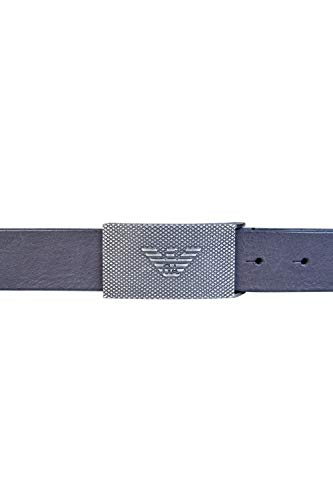 (Emporio Armani Plate Buckle Leather Black Belt 105 Black)