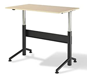 "Vertdesk™ 30"" x 48"" Electric Adjustable Stand Up Desk (Hardrock Maple with Black Base)"