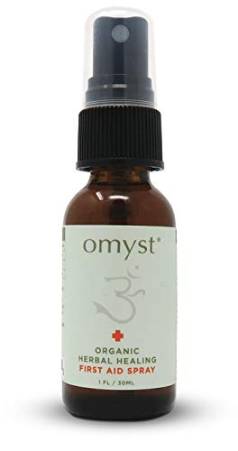 Omyst, 100% Organic Herbal First Aid Spray For Minor Cuts, Burns, Bites, Scratches, Rashes, Stings, Tattoos, and Sutures| Kills MRSA on Contact| FDA Compliant Label