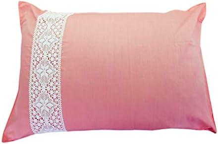 枕カバー 43×63cm 手編み風 レース 無地 ピローケース 綿混 洗える 速乾 (ピンク)