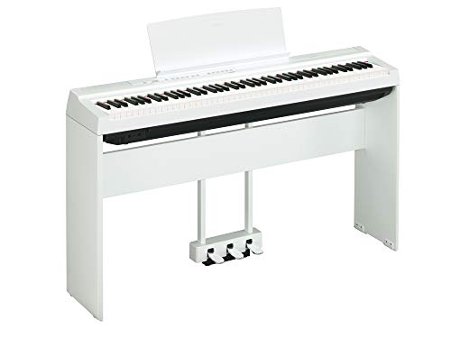 Yamaha P125 Digital Piano Deluxe Bundle with Furniture Stand and 3-Pedal Unit, White