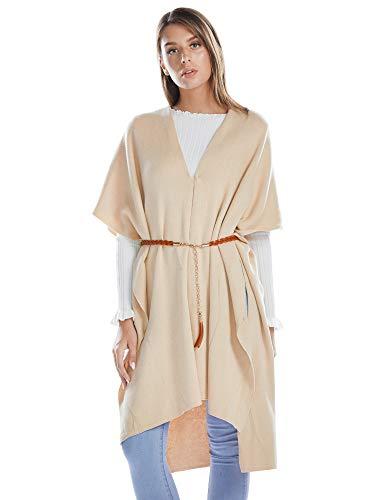 Women Open Front Wraps Ponchos Shawl Thick Cardigans Cashmere Capes Long Scarves Winter Accessories Beige Medium