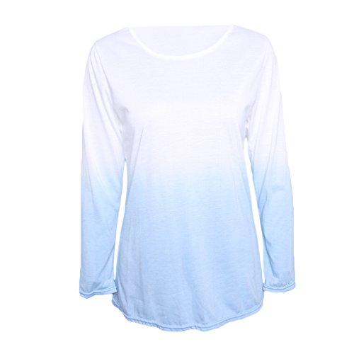 Womens Blue Tie Dye (UNKE Women Casual Ombre Tie Dye Shirt Side Split Long Sleeve Tunic Blouse Tops,White + Blue,XL)