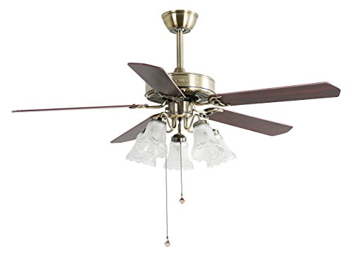 Indoor Ceiling Fan Light Fixtures - FINXIN FXCF02 (New Style) New Bronze 52 Ceiling Fans For Bedroom,Living Room,Dining Room Including 3 Speed Reversible Motor,Light(5-LED 25W),5-Blades by FINXIN