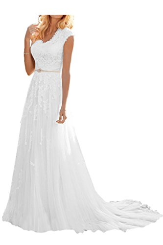 MILANO BRIDE Grace Princess V-neck Floral Lace Wedding Dress For Bride Cheap-12-Pure White