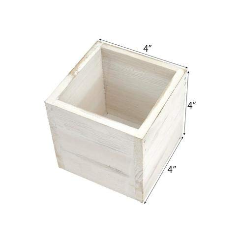 (BalsaCircle 4 pcs 4-Inch Natural Whitewashed Wood Rustic Square Planter Boxes Holders Centerpieces Wedding Decorations)
