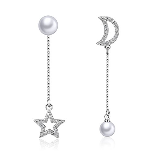 925 Sterling Silver Pearl Dangle Drop Earring for Women Crystal Moon Star Charms (Star&Moon Pearl)