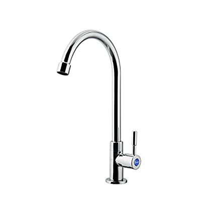 JOMOO Single Handle Single Hole Cold Water Faucet High Arc Kitchen Sink Faucet On Clearance 360 Degree Outdoor Kitchen Faucet For Sink, Laundry, Greenhouse,Bathroom And Bar,Chrome