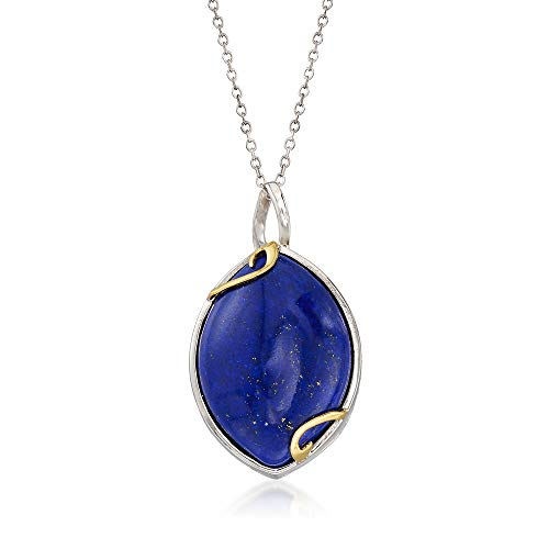 - Ross-Simons Marquise Lapis Pendant Necklace in Sterling Silver With 14kt Yellow Gold