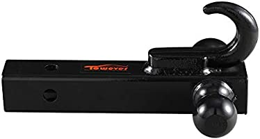 Black, Hollow Shank 2 inches Shank for Pickup Truck Hitch Receiver Towever 2 inches Class 3//4 Trailer Hitch Dual Ball Mount with Hook