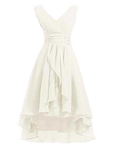 High Low Bridesmaid Dresses Short Chiffon Prom Cocktail Dress V-Neck Wedding Party Gowns Ivory US14