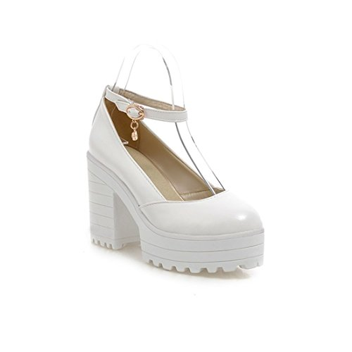 de Zapatos Profunda Tacones Altos Solo Grueso white Gran Cabeza Sandalette Zapatos y Mujer Zapatos Tamaño y DEDE los Redonda de de Poco Zapatos de Damas Zapatos StwqqxPpR
