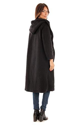 Long Hiver Capuche Creations Femme Manteau Noir Doucel nwSnpO