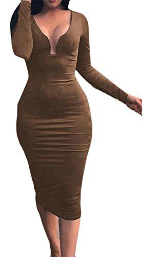 Taglio Delle Vestito Metà Lungo Cromoncent Sottile Bassa Solido Manica Club Di Brownness Donne Bodycon Del Colore qHwnOxFft7