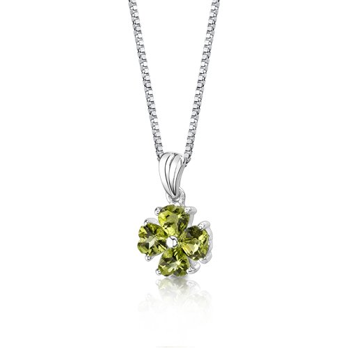 Peridot Pendant Necklace Sterling Silver Heart Shape 2.00 Carats