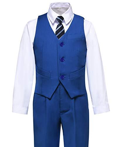 Visaccy Boys Suits Slim Fit Dress Clothes Vest and Pants Set Royal Blue Size 7 ()