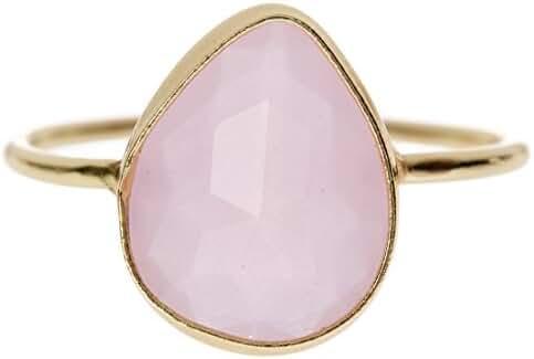 Pear Shape Rose Quartz Wholesale Gemstone Ring