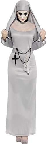Ladies Grey Horror Nun Halloween Carnival TV Book Film Conjuring Sister Corpse Fancy Dress Costume Outfit UK 4-18 (UK 8-10) ()