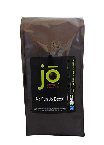NO FUN JO DECAF: 2 lb, Organic Decaf Ground Coffee, Swiss Water Process, Fair Trade Certified, Medium Dark Roast, 100% Arabica Coffee, USDA Certified Organic, NON-GMO