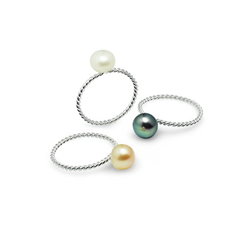Dog Costume Reddit (River Island Jewelry - 925 Sterling Silver Twisted Stackable Dyed Cultured Freshwater pearl with 3 Rings - Size 5)