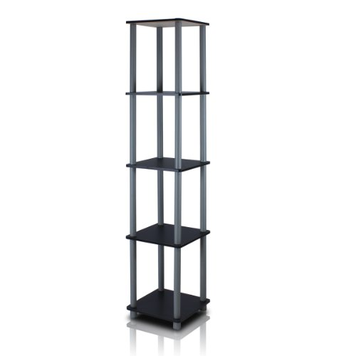 Store Display Shelves - Furinno 99132BK/GY Turn-N-Tube 5-Tier Corner Square Rack Display Shelf, Black/Grey