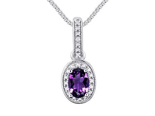 - Diamond & Amethyst Pendant Necklace Set in Sterling Silver Stunning Halo Designer