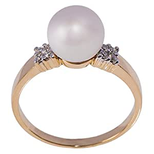 H Gems Women's 18k Solid Yellow Gold Diamond Pearl Ring - 7 US