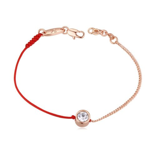 White Crystals from Swarovski Fashion Red Kabbalah Bracelet 18 ct Rose Gold Plated for Women 6.6 Crystalline br - 1